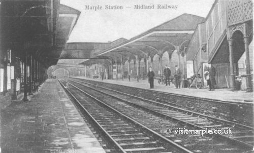 Marple Station in its late 19th century heyday, c 1890, looking towards Manchester.