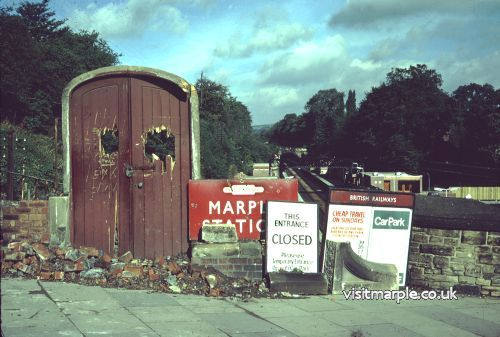 The main entrance to Marple Station in 1970, demolition almost complete.