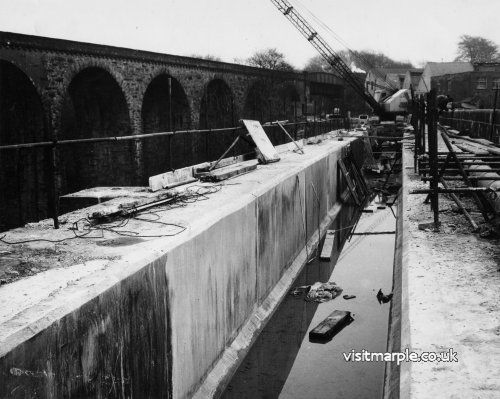 Aqueduct repairs underway in the 1960s.