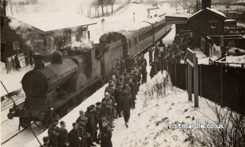 Soldiers help to clear the line at Rose Hill Station in February 1940.