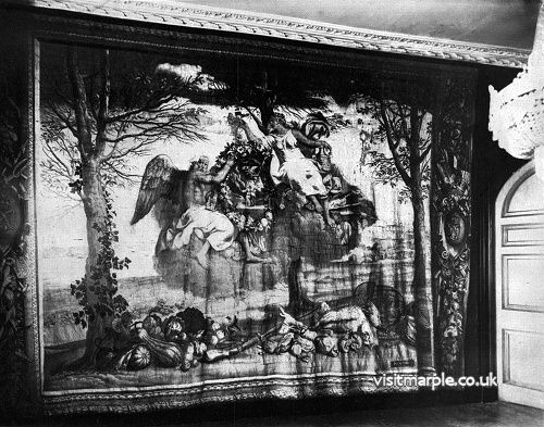 Large early 18th Century Gobelins Tapestry representing winter in Marple Hall Drawing Room