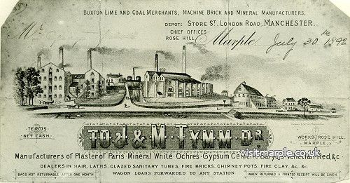 A receipt from J & M Tymm dated 30th July 1892, with a drawing of the Lime Kilns in full operation