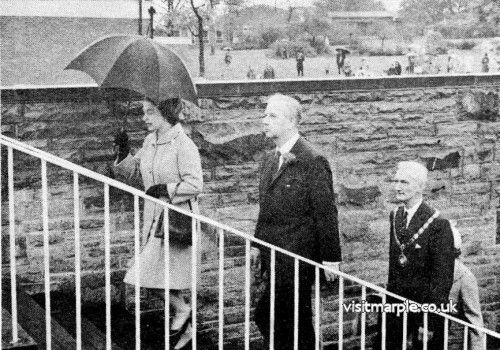 The Queen departs up the Possett Bridge steps after her visit in May 1968