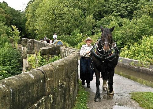 Maria crosses Marple Aqueduct