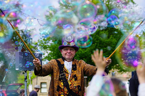 The Bubble Man at Hawk Green Maypole Festival