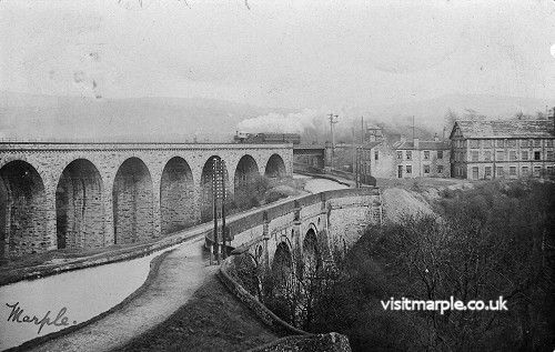 Marple Aqueduct and Viaduct with the Queens Hotel and Aqueduct Mill.