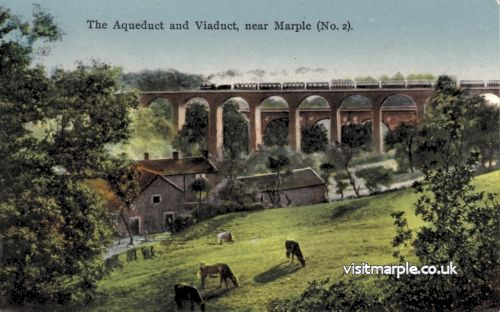 A hand-coloured postcard of Marple Viaduct and Aqueduct.