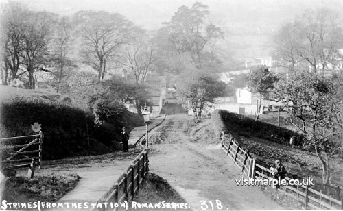 Strines viewed from the station in bygone days.