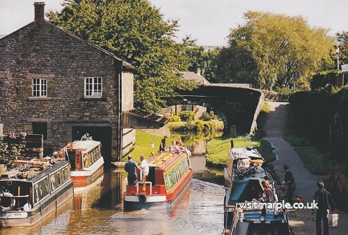 The wonderful view of Marple Wharf from Bridge No. 2 on the Macclesfield Canal.