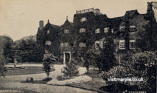 The classic view of Marple Hall in its heydays