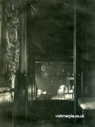A tantilising view of the Ante Room at Marple Hall looking down the stairs from the Drawing Room in 1902.