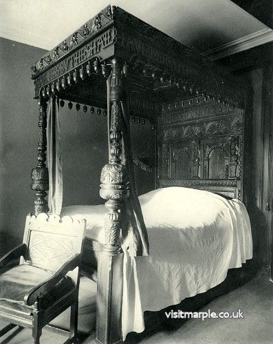 The John Bradshawe bed at Marple Hall in 1902 looks like it was still being slept in
