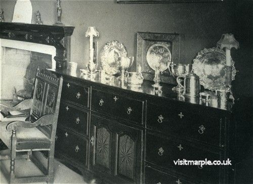 Silverware on a cabinet in the Dining Room at Marple Hall in 1902 that was auctioned off in 1929