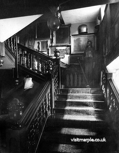 The main staircase at Marple Hall in all its magnificence, 1902.