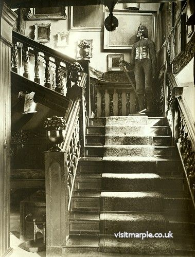 The main staircase at Marple Hall in all its magnificence, 1919.