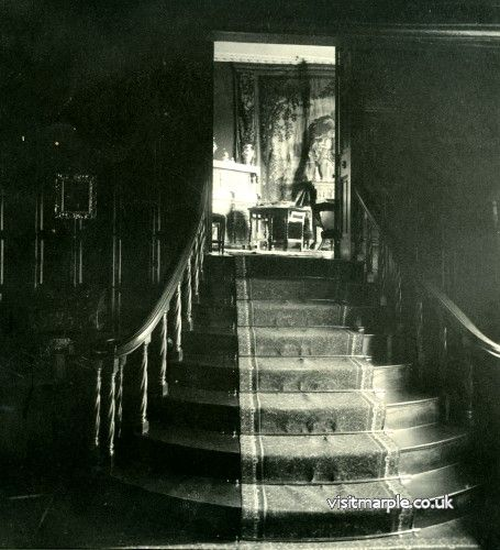 Stairs from the Ante Room at Marple Hall looking up to the Drawing Room, 1902.