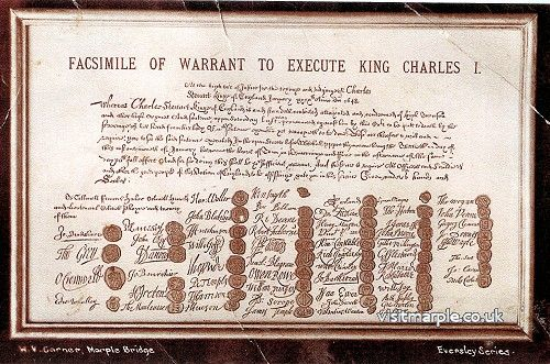 A scan of a print of a postcard of a facsimile of the Warrant to execute King Charles I. First signature is John Bradshawe of Marple Hall.