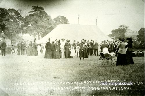 Celebrations at the site of the new spinning mill for Hawk Green on 20 July 1905