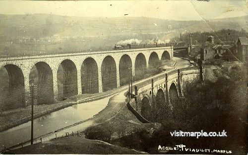 A well composed shot of Marple Aqueduct and Viaduct with the Queens Hotel and Aqueduct Mill visible. Postmarked 1908.