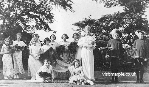 Marple Congregational Sunday School Rose Queen 1934, Elsie Harrison. Dave Watson says I think my mum Joan Hope is sitting on the left-hand side in the 2nd row back - looking at the camera slightly side on.