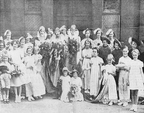 Rene Rowbottom was crowned Marple Rose Queen 1935 at the Albert Schools. Provided by Dave Watson, whose mum Joan Hope was a Flower Girl in attendance to the Queen.