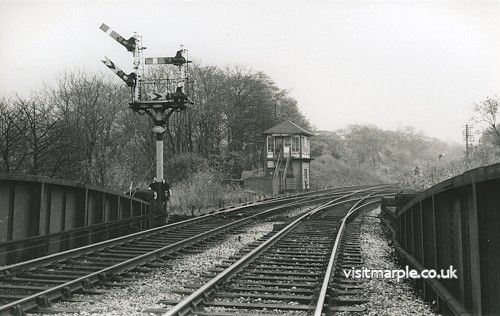 Marple Wharf Junction signal box in the 1960s.