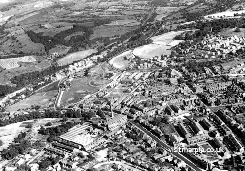 1955 view of Marple from the air taken by Gordon Mills showing Hollins Mill before demolition.