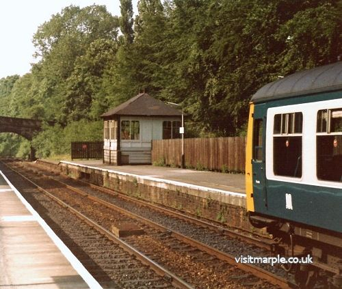 Marple Station with signal box in 1980. provided by Paul Mallett.