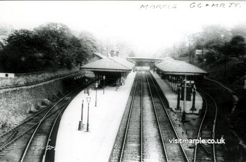 Marple Railway Station viewed from the Romiley end. On the left in the distance you can just make out the old goods storage shed that was where the car park is today.