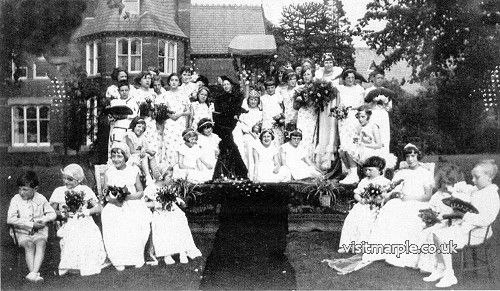 Marple Congregational Sunday School Rose Queen around 1934 in the grounds of Rose Hill House. From Marple Local History Society Archives.