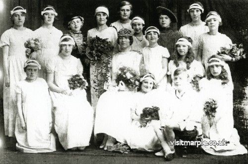 Marple Rose Queen and her retinue - Miss Irene Beard, Rose Queen of the Marple Congregational Church with the Rose-bud Queen (M. Jarvis) and the Dowager Queen (May Ford). From Marple Local History Society Archives.