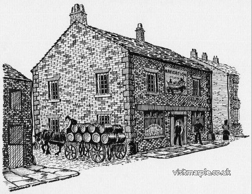 A drawing of the Navigation Pub as it may have looked in Oldknow's day