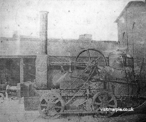 Rattlesnake, the first contractor's locomotive into Marple on 14 June 1863. From Marple Local History Society Archives.