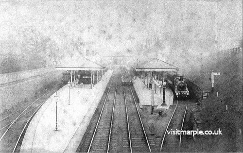 A ghostly image of Marple Station in its heyday, from Marple Local History Society Archives.