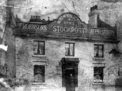 A very early photo of the Northumberland Arms on Compstall Road.