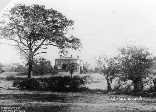 Woodville Hall in its prime, surrounded by empty fields.
