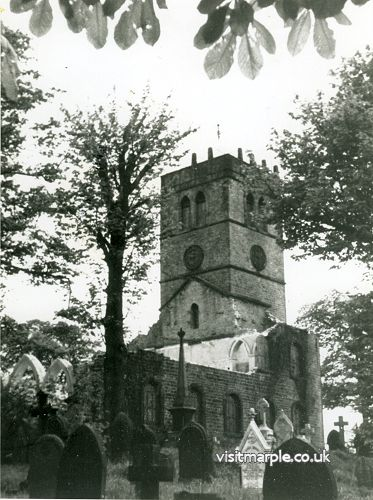 Partly demolished All Saints' Church in 1964