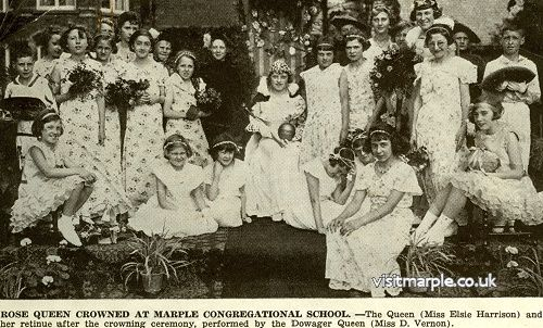 Marple Bridge Congregational School Rose Queen (Miss Elsie Harrison) with her retinue after being crowned by Dowager Queen (Miss D. Vernon). From Marple Local History Society Archives.