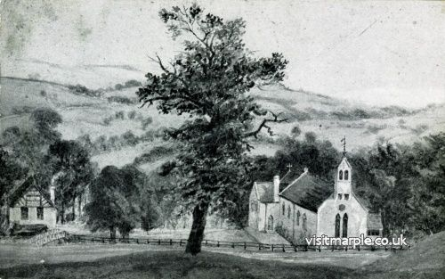 An illustration of Saint Martin's Church from around 1870, from Marple Local History Society Archives.