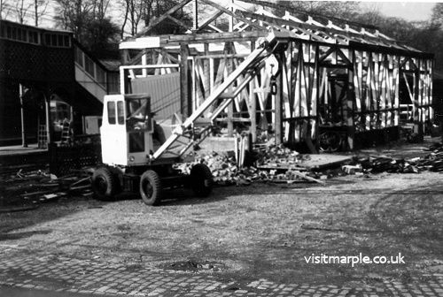 The demolition of Marple goods shed after closure to freight on 5th October, 1964.