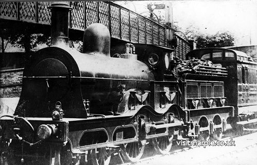 Marple Station in its early days. An MSL train headed by MSL class 6B 4-4-0 No.441 built at Gorton in 1881