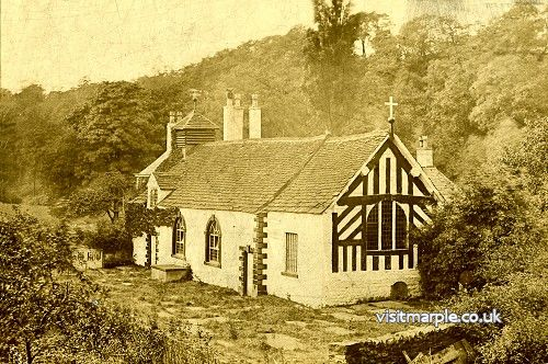 A fantastic sepia photograph of Chadkirk Chapel, probably early 1900s
