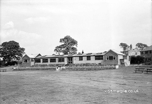 Marple Cricket Club pavilion being rebuilt, taken by Gordon Mills in 1958.