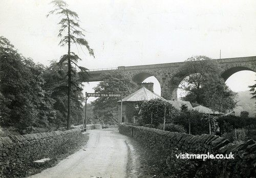Marple Goyt Viaduct from the West in 1906. Compare with the view below.