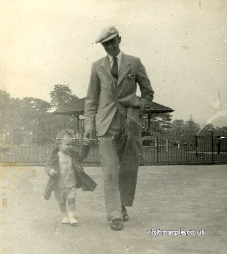 Jim Noble with son Ray (who provided this article) in Memorial Park in 194