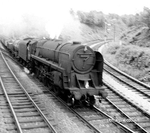 Marple Wharf Junction. BR class 9F 2-10-0 (no. unknown). Unknown goods train.
