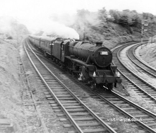 Marple Wharf Junction. LMS Black Five 4-6-0. Unidentified loco on an excursion to Belle Vue Pleasure Grounds / Zoo.