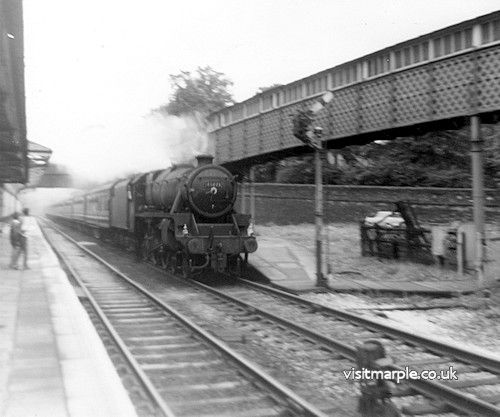 Marple Station. LMS Black Five 4-6-0 no. 45073. This train is the Liverpool to Harwich boat train, steam hauled from Manchester to Sheffield.