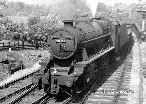 Marple Wharf Junction. LMS 8F 2-8-0 no. 48715. St. Helens - Oakamoor (Staffordshire) sand train, which used the Rose Hill to Macclesfield Central route.
