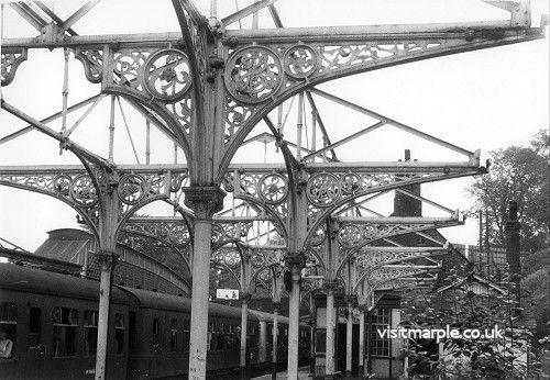 Marple Station on 2 August 1969 showing bare steelwork trusses.